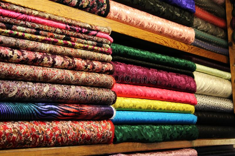 Turkish textile sale at the Grand Bazaar in Istanbul, Turkey stock photo