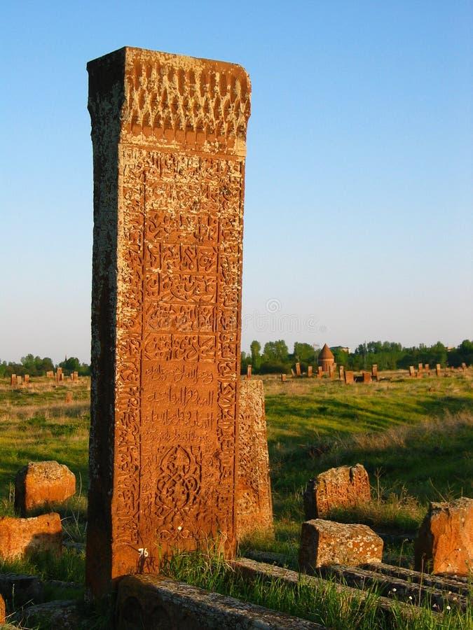Turkish tombstone. Ancient Turkish tombstone in Ahlat, Eastern Anatolia stock photo