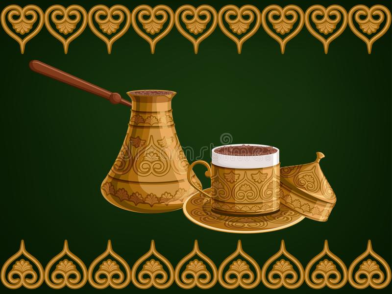 Turkish traditional antique decorated copper cezve and cup of coffee with cap on arabic ornamental green background. vector illustration