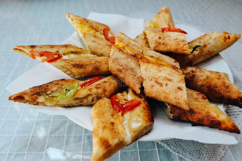 Turkish traditional food bread pide. On table royalty free stock photo