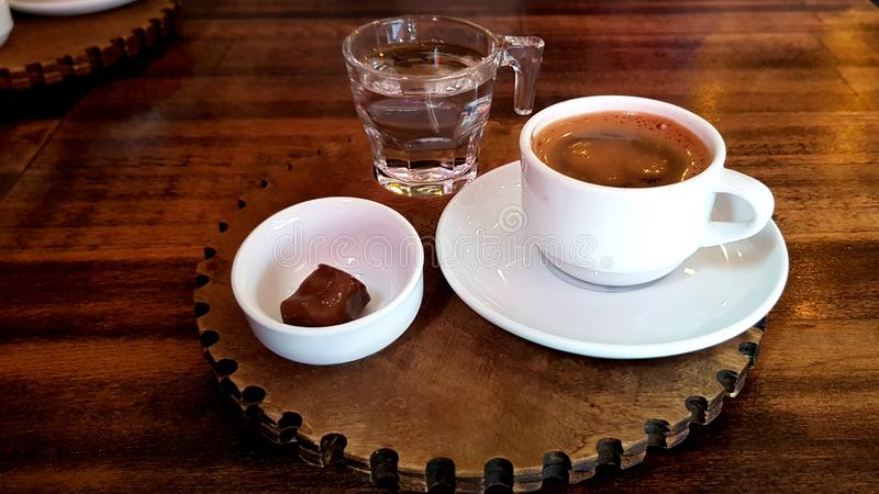 Turkish Traditional Coffee with delight royalty free stock photo
