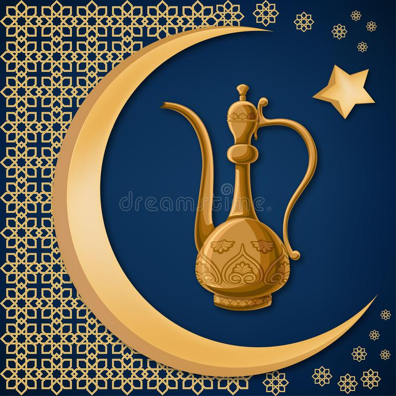 Turkish traditional decorated copper pitcher with oriental decoration, moon, and star on dark blue background. royalty free illustration