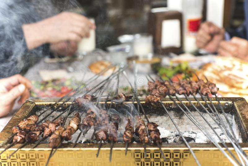 Turkish traditional meal called `ciger` made by liver on a bbq royalty free stock photos