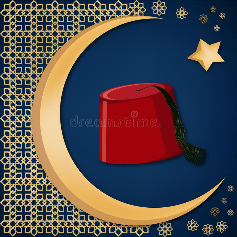 Turkish traditional red hat fez or tarboosh with arabic style ornament and moon and star background. vector illustration