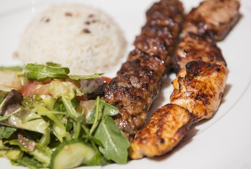Turkish Traditional Skewer Mix Kebab royalty free stock photos