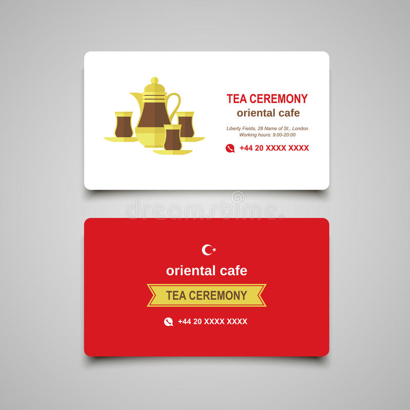 Turkish Traditional Tea Ceremony. Flat Modern Business Card Conc ...