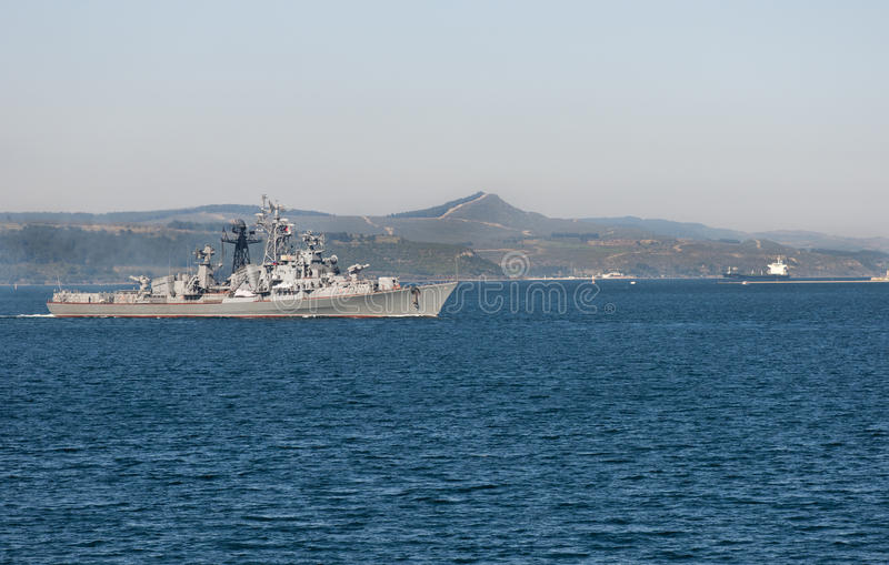 Turkish warship in the Dardanelles royalty free stock photography