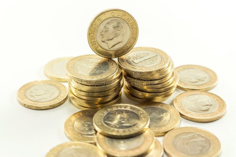 Turkisk Lira - järnpengar 1 TL royaltyfria foton