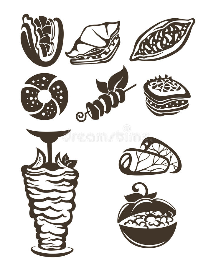 Turkisk mat stock illustrationer