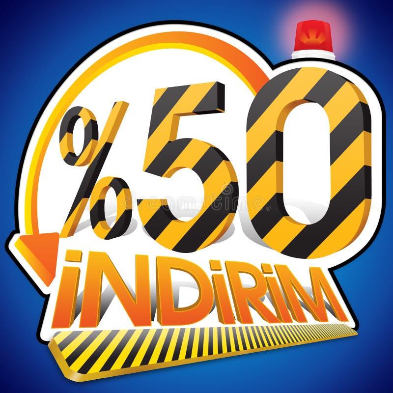 Turkisk rabattskalaprocentsats 50 femtio procent Turkisk stavning stock illustrationer