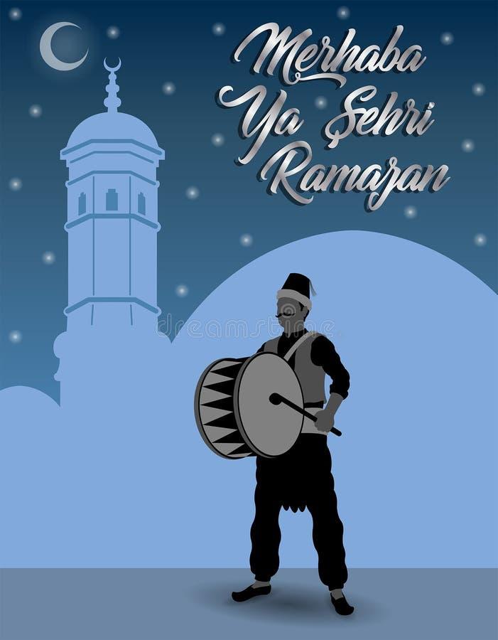 Turkisk Ramadanhälsning med Ramadan Drummer som är främst av blått s vektor illustrationer