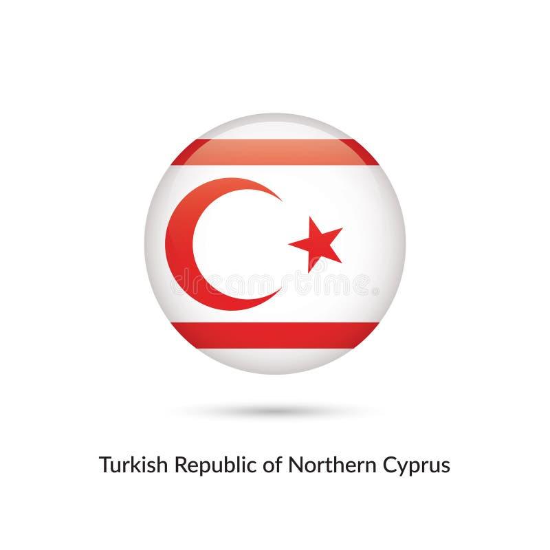 Turkisk republik av den nordliga Cypern flaggan - rund glansig knapp royaltyfri illustrationer