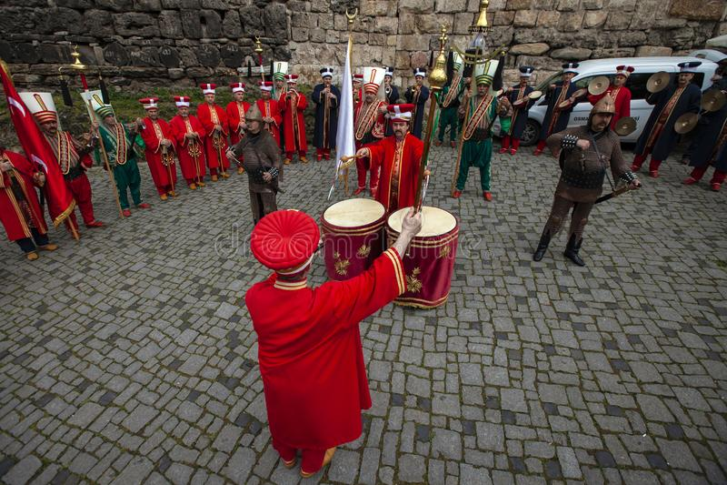 Turkisk traditionell musikmusikband Mehter royaltyfri bild