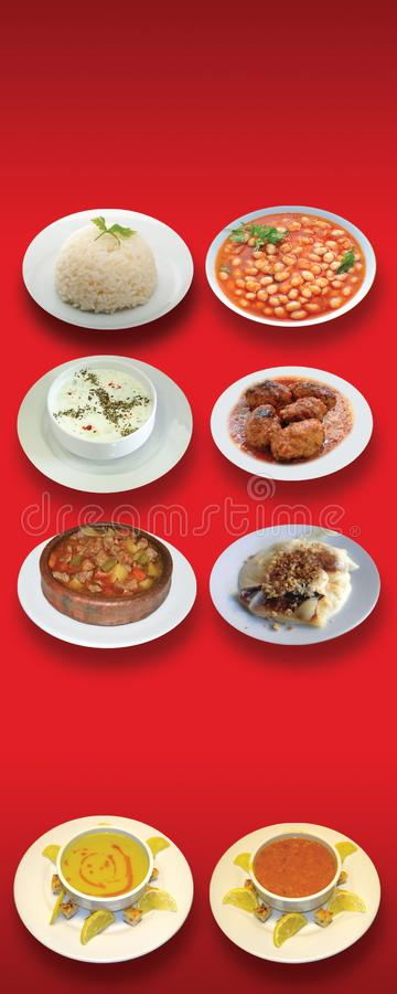 Turkiska foods, turk talar: yemekleri för türk, doner, arkivbilder
