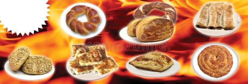 Turkiska foods, turk talar: yemekleri för türk, doner, arkivfoto