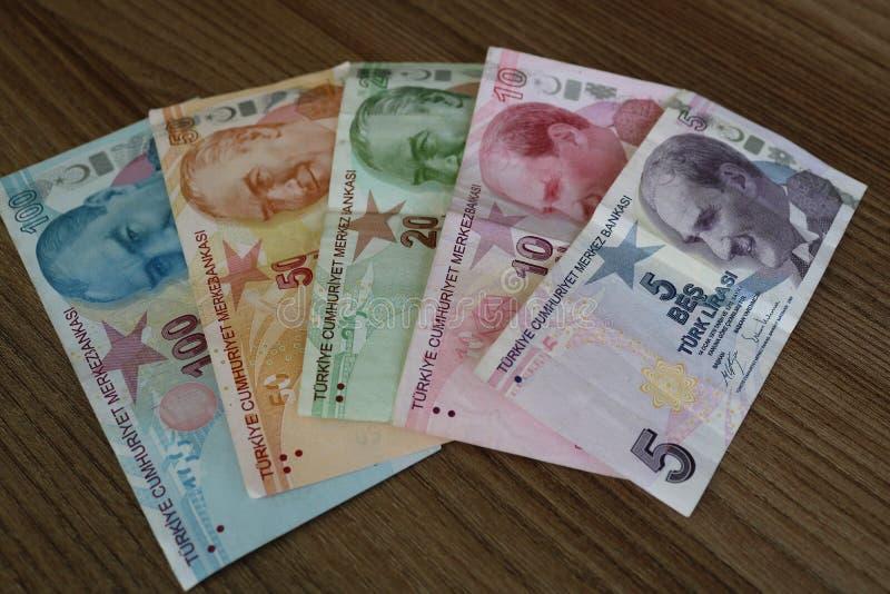turkiska sedlar FÖRSÖK för turkisk Lira eller TL arkivbild