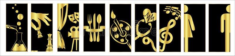 Turkiska signagemodeller, ¼ r, muhasebe, satışofisi, mutfak, fjärdwc, bayan wc - översättning för dà för genelmü: general mana royaltyfri illustrationer