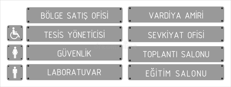 Turkiska signagemodeller, ¼ r, muhasebe, satışofisi, mutfak, fjärdwc, bayan wc - översättning för dà för genelmü: general mana stock illustrationer
