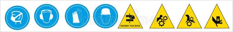 Turkiska signagemodeller, faratecken, f?rbjudet tecken, yrkes- s?kerhet och v?rd- tecken, varnande skylt, n?d- tecken f?r brand stock illustrationer
