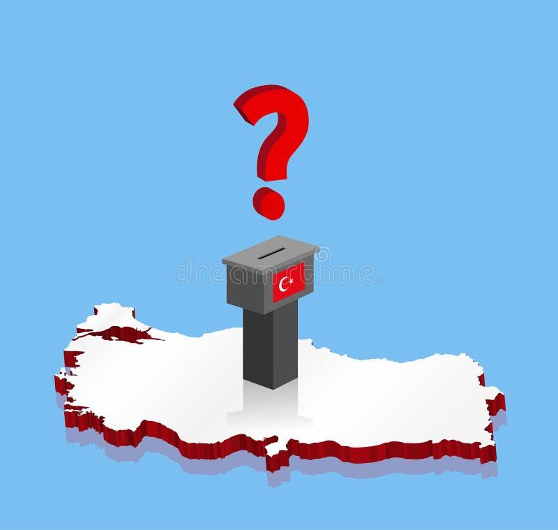 Turkiska valresultat med frågefläcken och röstasluten omröstning över den Turkiet 3D översikten royaltyfri illustrationer
