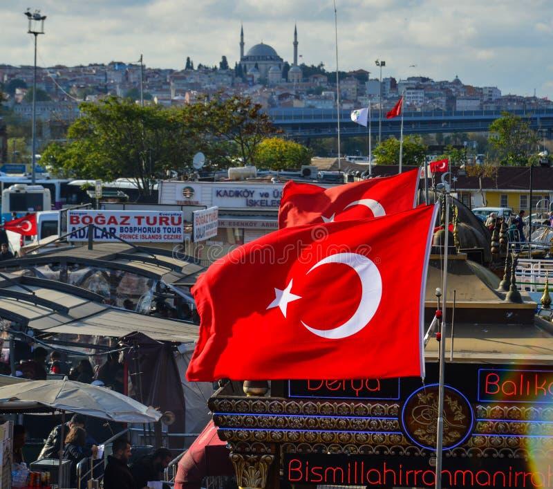 Turkiska yachter på pir med flaggan royaltyfri foto