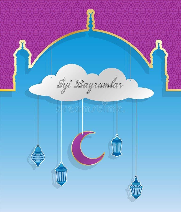 Turkiskt eidhälsningkort med kupolen och ramadan lyktor vektor illustrationer