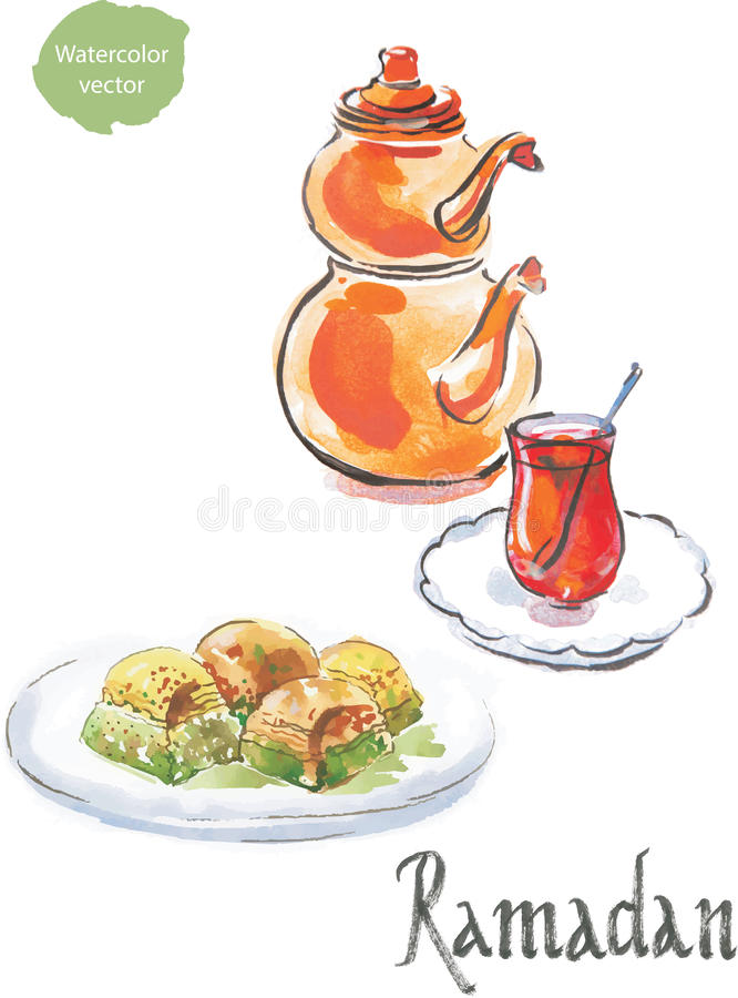 Turkiskt te för Ramadan och för vattenfärg med baklava royaltyfri illustrationer