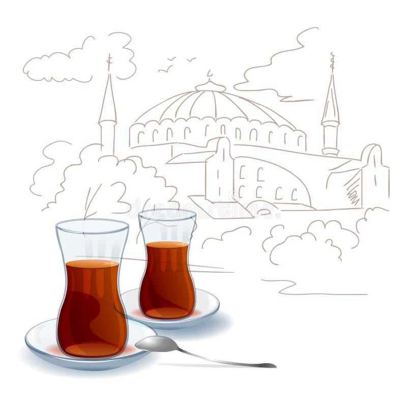 Turkiskt te, stad skissar stock illustrationer