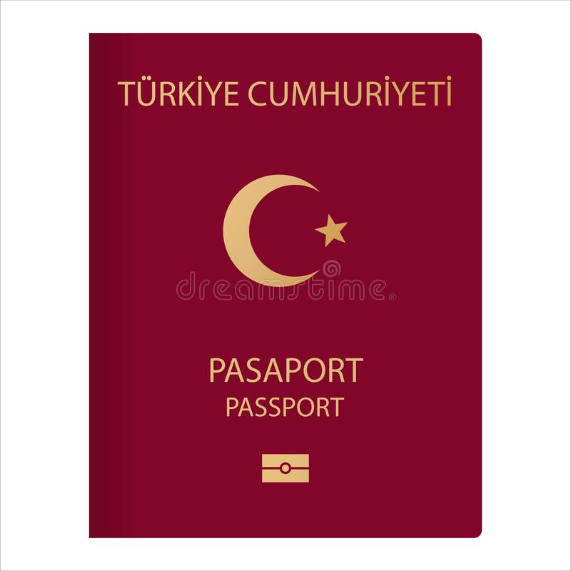 Turkiye pasaport. Variation concept of a passport from around the world. A document citizens of Turkey with logos, symbols the vector illustration