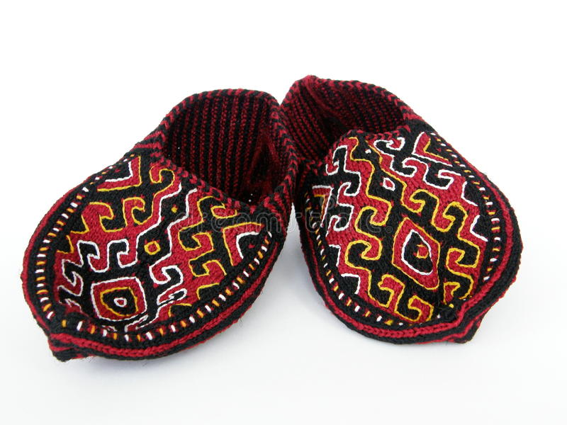 Turkmen traditional slippers royalty free stock photos
