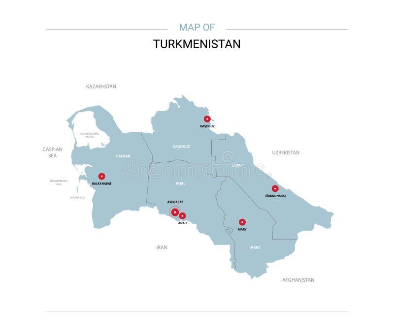 Turkmenistan översiktsvektor med det röda stiftet stock illustrationer