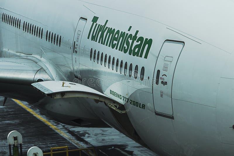 Yesilkoy, Istanbul / Turkey November 28th, 2018: Turkmenistan Airlines Boeing 777-200LR, in Istanbul Ataturk International Airport stock photos