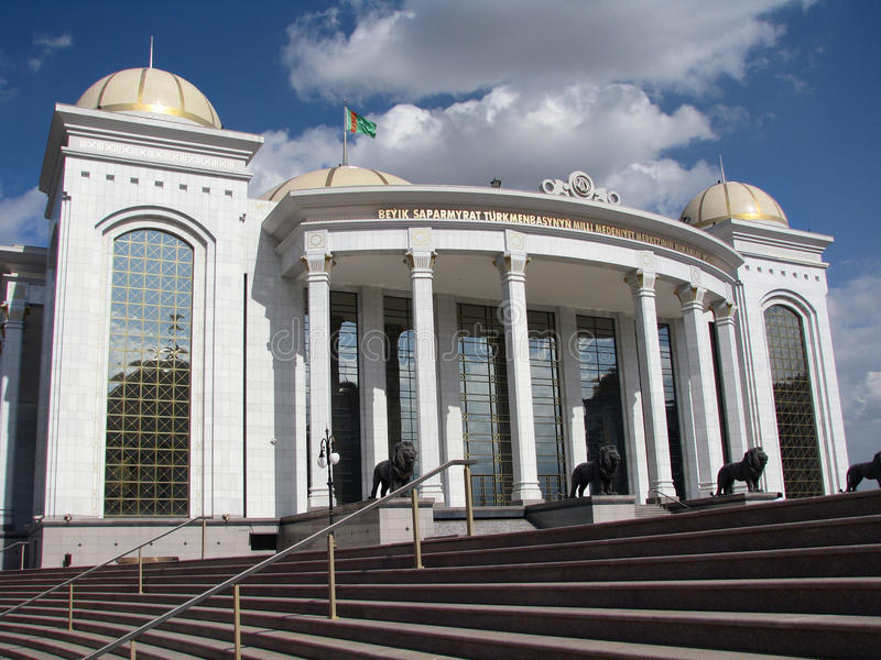 Turkmenistan - Ashgabat, palazzo bianco fotografia stock