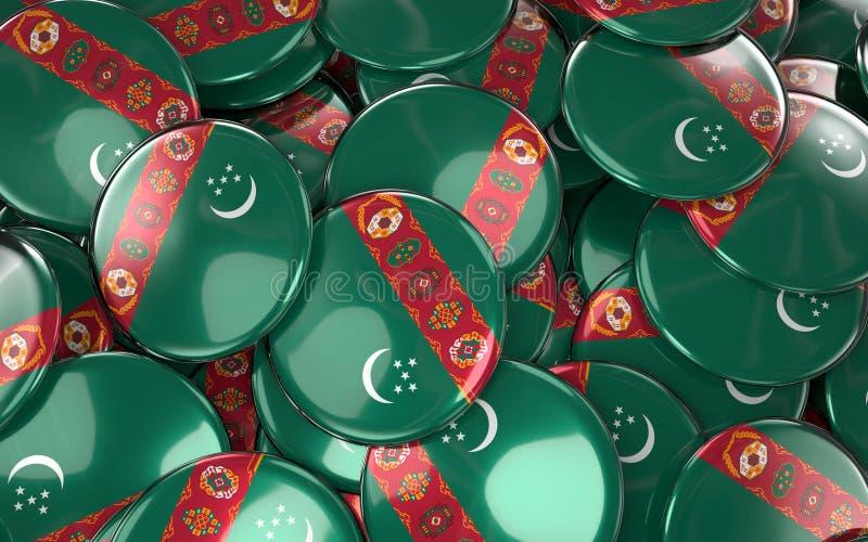 Download Turkmenistan Badges Background - Pile Of Turkmen Flag Buttons. Stock Illustration - Illustration: 92615377