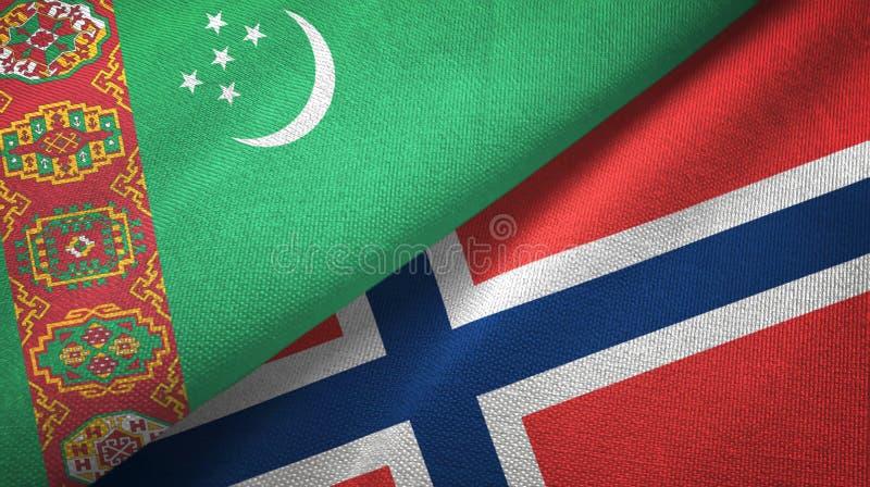 Turkmenistan en Noorwegen twee vlaggen textieldoek, stoffentextuur vector illustratie