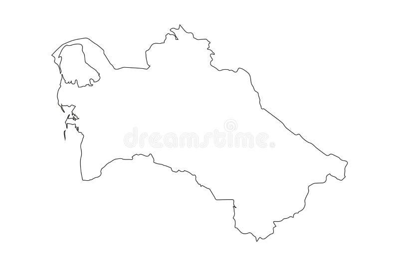 Turkmenistan - fast svart översiktsgränsöversikt av landsområde Enkel plan vektorillustration stock illustrationer