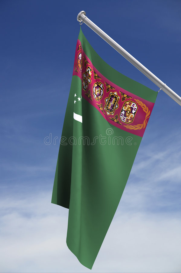 Turkmenistan flag with sky stock images