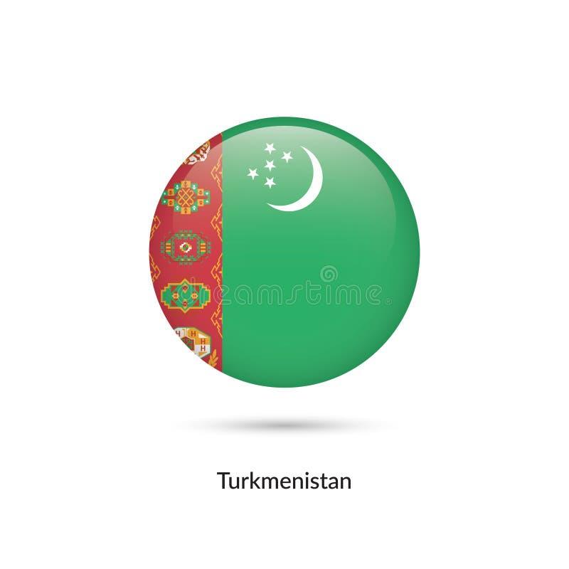 Turkmenistan flagga - rund glansig knapp stock illustrationer