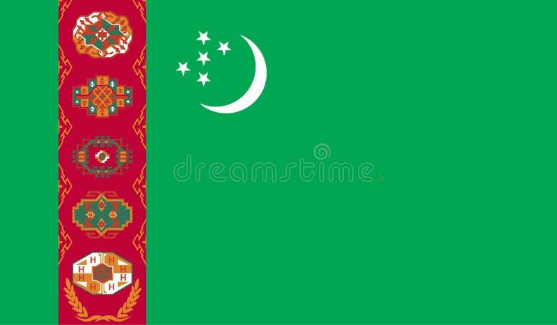 Turkmenistan flaggabild stock illustrationer