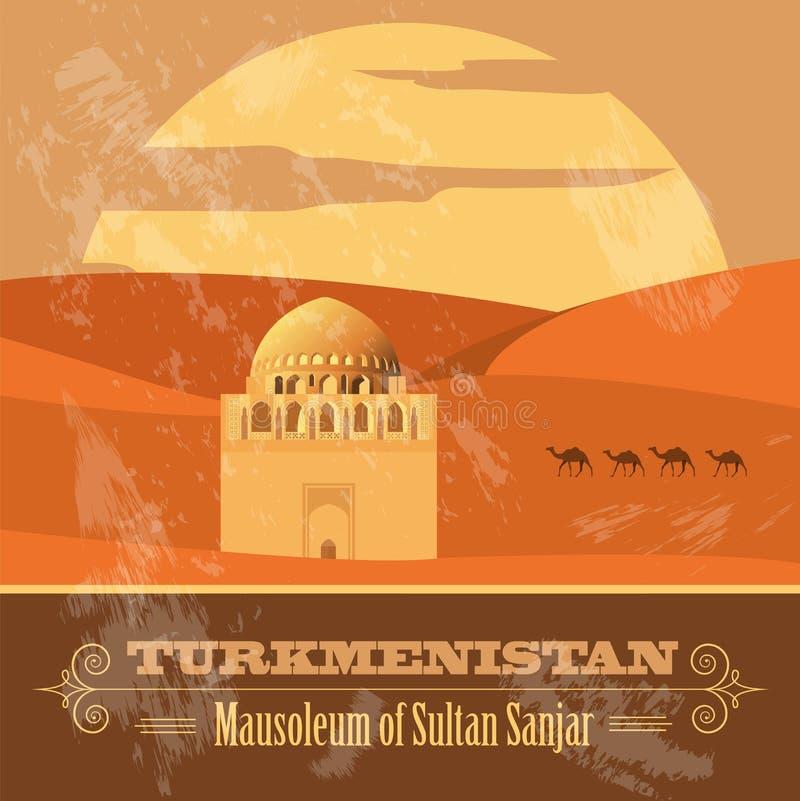 Turkmenistan gränsmärken Retro utformad bild stock illustrationer