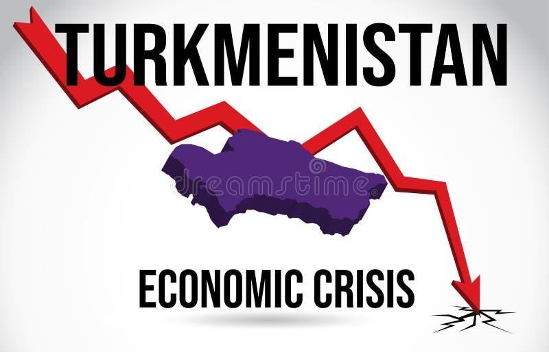 Turkmenistan Map Financial Crisis Economic Collapse Market Crash Global Meltdown Vector. Illustration vector illustration