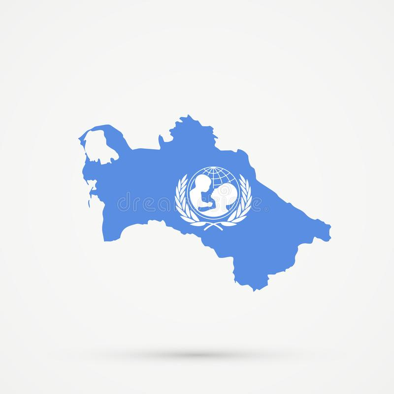 Turkmenistan map in United Nations Childrens Fund UNICEF vlagkleuren, editable vector stock illustratie