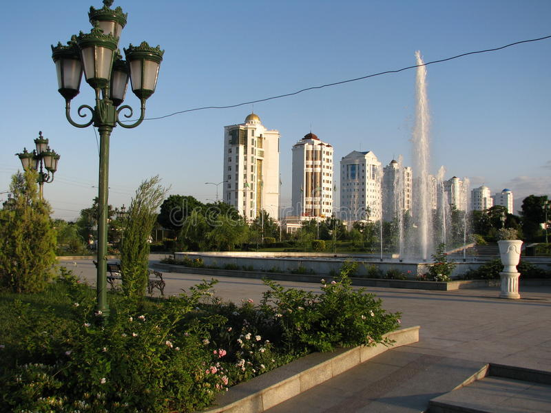 Turkmenistan - Monuments and buildings of Ashgabat. White palaces of Ashgabat capital Turkmenistan, central asia, located on the ancient road of the Great silk royalty free stock photo