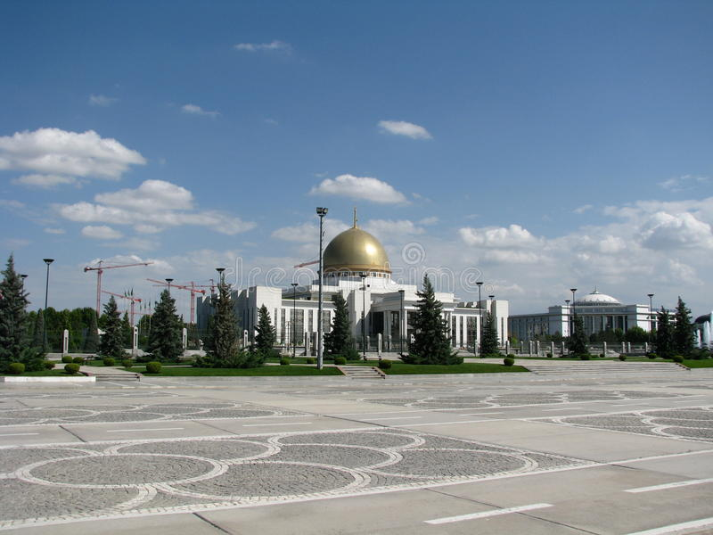 Turkmenistan - Monuments and buildings of Ashgabat. White palaces of Ashgabat capital Turkmenistan, central asia, located on the ancient road of the Great silk royalty free stock photography