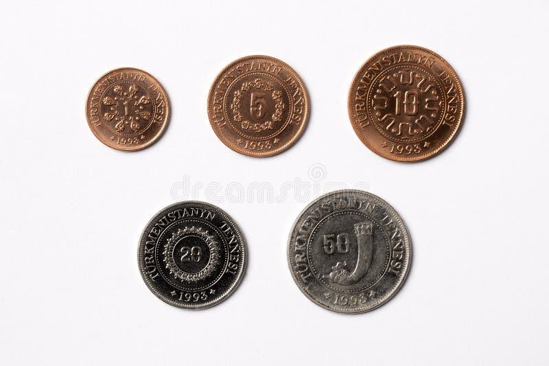 Turkmenistan mynt royaltyfria bilder