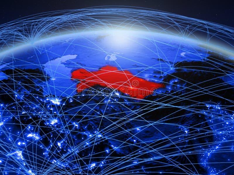 Turkmenistan op blauwe digitale aarde met internationaal netwerk die mededeling, reis en verbindingen vertegenwoordigen 3d stock foto's