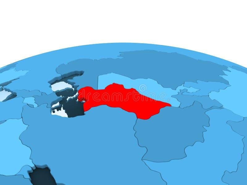 Turkmenistan på det blåa politiska jordklotet vektor illustrationer