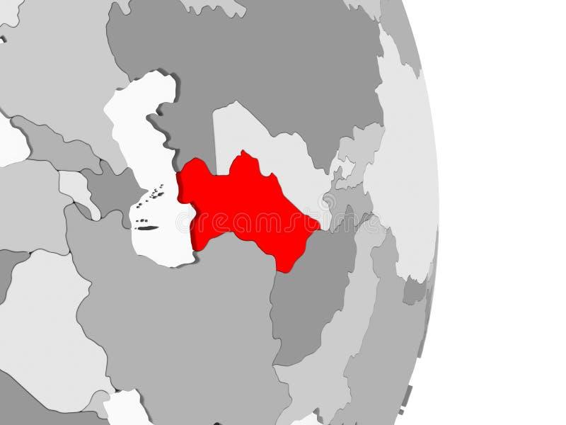 Turkmenistan på det gråa politiska jordklotet royaltyfri illustrationer