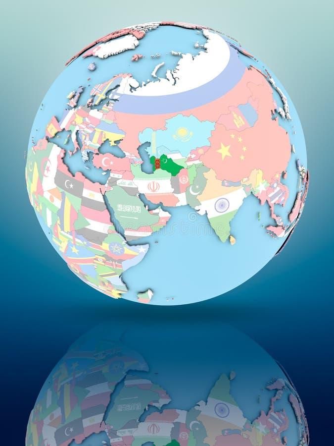 Turkmenistan på det politiska jordklotet med flaggor stock illustrationer