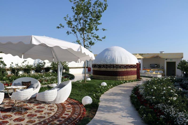 Turkmenistan paviljong Milan, milano expo 2015 arkivbilder